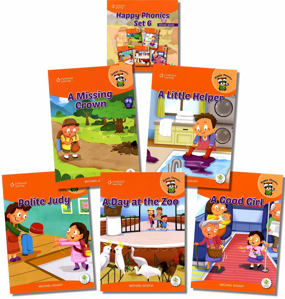 Happy Phonics Set 6 (5 Books + Audio CD/1片)