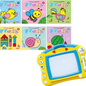 音樂磁性畫板+寶寶玩塗色(6冊)(套)(瓦楞紙盒裝)